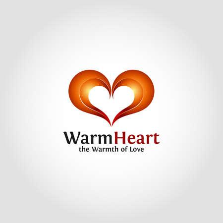 Warm Heart is a Lovely Couple Heart Logo Illustration
