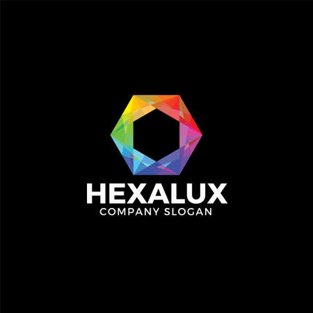 Stylish Hexagon logo with diamond concept