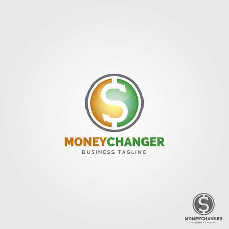 circle and dollar symbol concept moneys changer logo