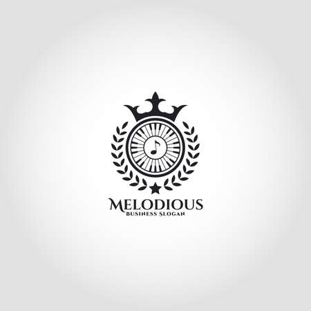 Melodious is a royal music logo