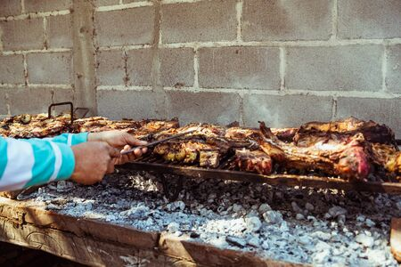 Traditional argentinian barbecue. Outdoor food, camping food.