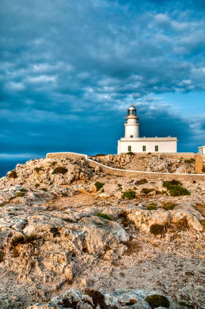 Cavallerias lighthouse at the northern extreme of Minorca island, Spain.