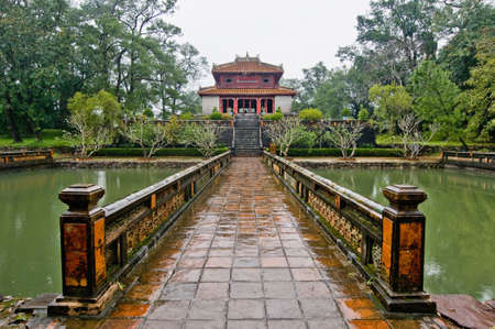 Access bridge  to the Tomb of Khai Dinh Stock Photo