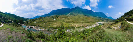 pano: Located at Lao Cai Province, northern Vietnam,  we find the Hoang Lien Mountain Range.