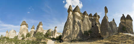 Cappadocia, the famous and popular tourist destination at Turkey, as it has many areas with unique geological, historic and cultural features. Stock Photo
