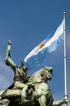 argentina flag: Monument of Manuel Belgrano, the creator of the argentinian flag. Stock Photo