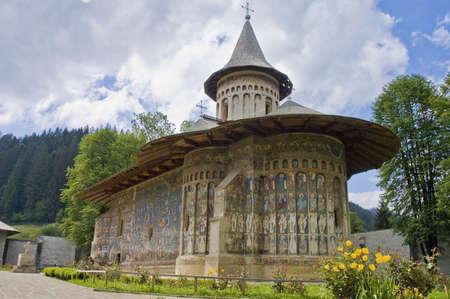 Voronet, painted monastery of northern Romania Stock Photo
