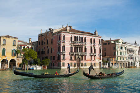 grande: Rezzonico Palace entrance viewed from the Canale Grande Venice, Italy