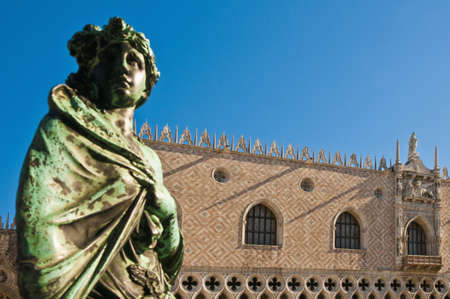 ducale: Upper wall of Palazzo Ducale located at Venice, Italy Stock Photo
