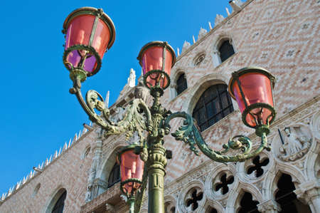 ducale: Streetlamp in front of Palazzo Ducale building located at Venice, Italy