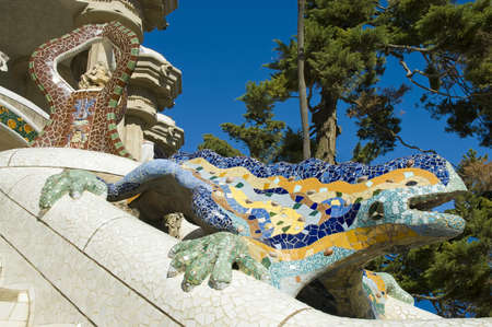 famous industries: Gaudi Park Guell colorful ceramic detail located at Barcelona, Spain