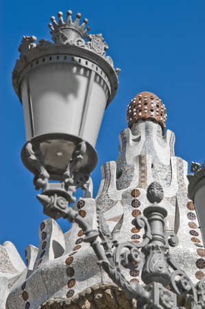 Gaudi Park Guell colorful ceramic detail located at Barcelona, Spain photo