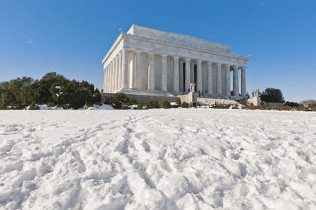 The Lincoln Memorial exterior after a snow blizzard at the Mall in DC, USA photo