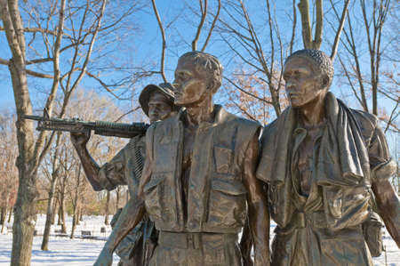The Vietnam War Memorial after a snow blizzard at the Mall in DC, USA