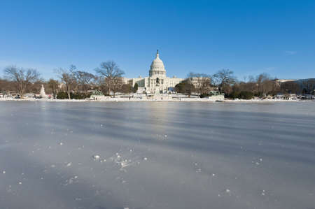 The White House building after a snow blizzard at the Mall in DC, USA photo