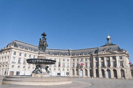 famous industries: Square de la Bourse fountain located at Bordeaux, France