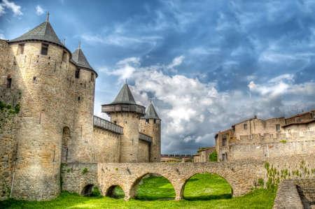 chateau: Chateau Comtal bridge located at Carcassonne, France