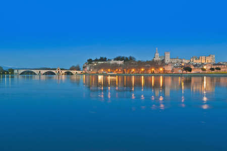 Avignon skyline as seen from the other shore of the Rhone River, France Stock Photo