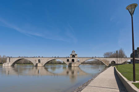 rhone: Avignon bridge across the Rhone river, France
