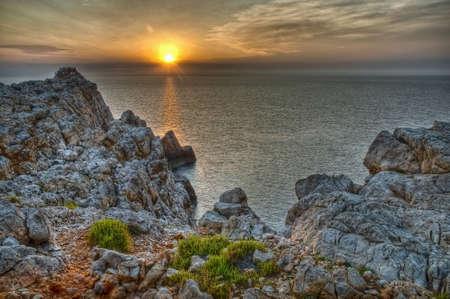 Beautiful sunset at  Cape Nati, Minorca.