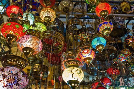 Crystal lamps for sale on the Grand Bazaar at Istanbul photo