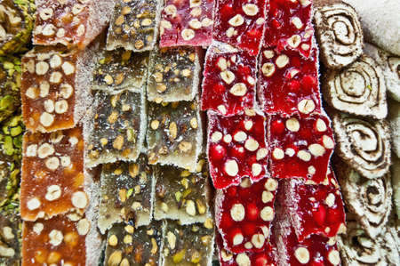Turkish candy for sale on the Spice Bazaar at Istanbul photo