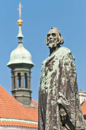 Jan Hus statue located at Old Town Square