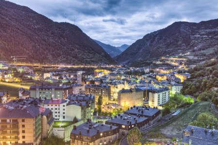 tourism in andorra: Encamp as seem from Sant Roma de les Bons, Andorra Stock Photo