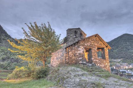 tourism in andorra: Sant Roma de les Bons romanic church located at Encamp, Andorra