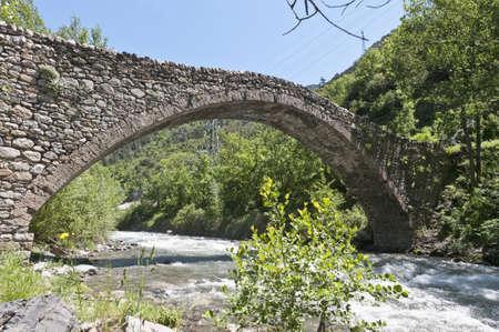 Ancient romanic bridge at la Margineda, Andorra