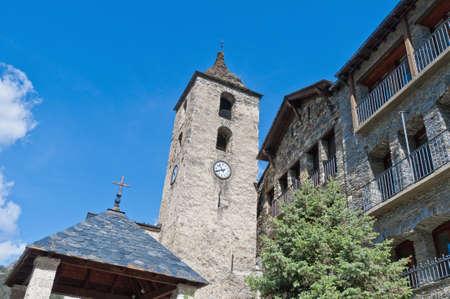 andorra: Sant Corneli y Sant Cebria romanic church located at Ordino, Andorra Stock Photo