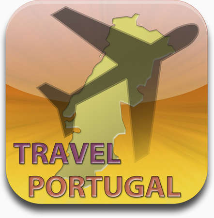 mapa: Illustration of an airplane fying over the Portugal