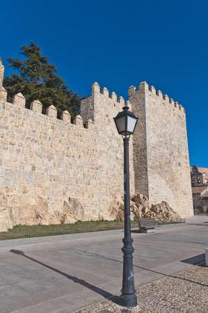 defensive: Defensive walls tower around Avila, Spain