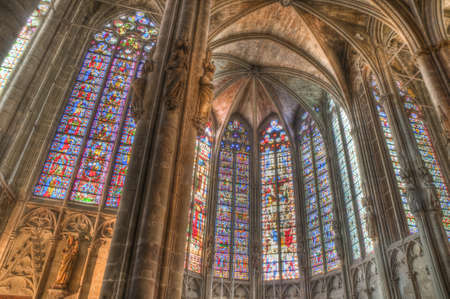 edifices: Interior of St. Nazaire and St Celse Cathedral located at Carcassonne, France Editorial