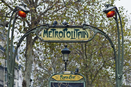 famous industries: Art Nouveau Metro entrance at Paris, France