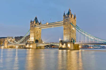 Tower Bridge across Thames river at London, England photo