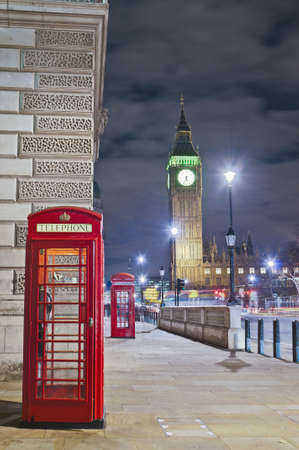 Red public telephone at London, England photo