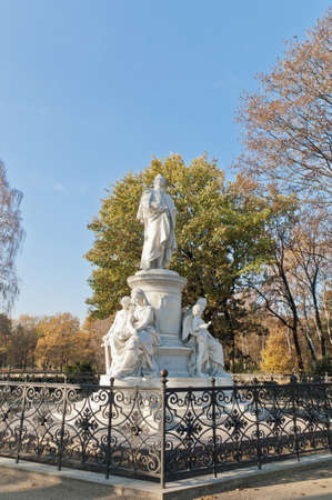 romanticism: Statue of Johann Wolfgang von Goethe, poet, novelist, playwright and German scientist helped found the romanticism movement at Berlin, Germany Stock Photo