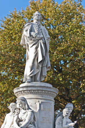 novelist: Statue of Johann Wolfgang von Goethe, poet, novelist, playwright and German scientist helped found the romanticism movement at Berlin, Germany Stock Photo