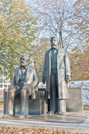 founders: Statue of Karl Marx and Friedrich Engels, authors of The Communist Manifesto of 1848 and regarded as the founders of the Communist movement at Berlin, Germany