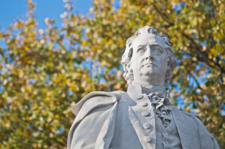 novelist: Statue of Johann Wolfgang von Goethe, poet, novelist, playwright and German scientist helped found the romanticism movement at Berlin, Germany Editorial