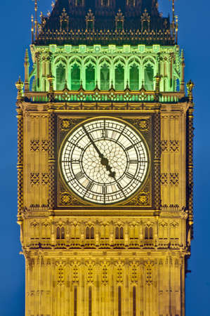 Big Ben tower clock on Houses of Parliament building at London, England Stock Photo