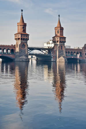 The Oberbaumbrucke bridge connects the districts of Kreuzberg and Friedrichshain over the river Spree at Berlin, Germany