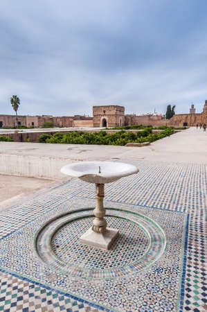 incomparable: El Badi Palace main Yard at Marrakech, Morocco Stock Photo