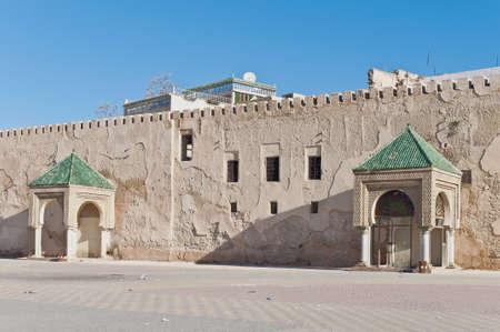 El Hedim square wall at Meknes, Morocco