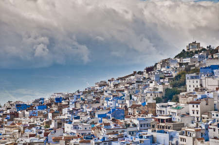Chefchaouen blue town daylight general view located at northern Morocco