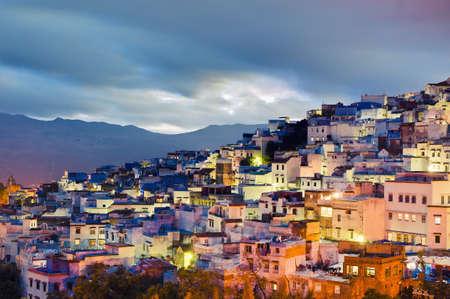 marocchini: Chefchaouen blue citt� tramonto vista generale, situato a nord del Marocco