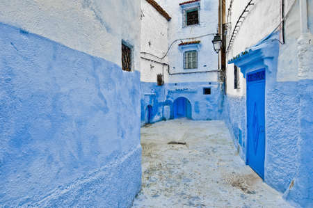 Blue shaded city streets of Chefchaouen, Morocco Stock Photo