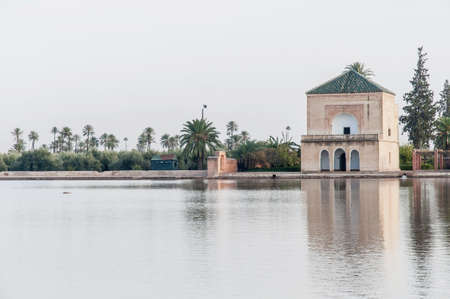 pavillion: Pavillion reflection on Menara Gardens basin at Marrakech, Morocco Stock Photo