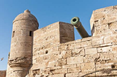 defensive: Defensive wall cannons at Essaouiras Medina, Morocco